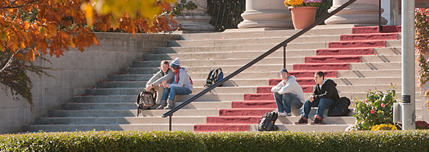 Students on Carnegie library stairs